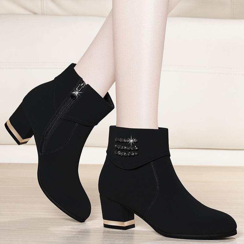 短靴女鞋冬季2019新款韩版百搭中跟单鞋女粗跟高跟鞋女士妈妈加绒