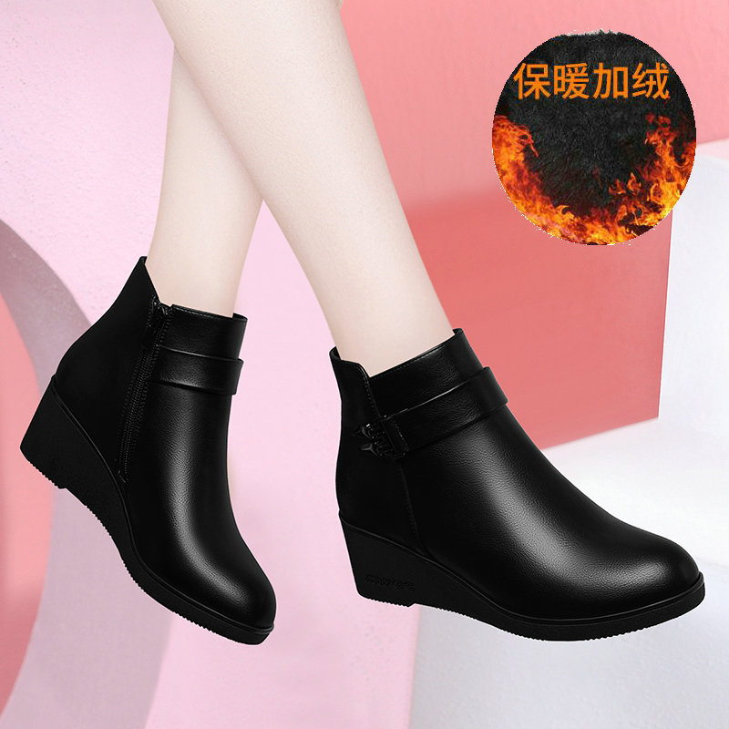 Boots children 2020 new autumn and winter black soft bottom thick heel middle heel fashion Plush waterproof platform short boots womens shoes