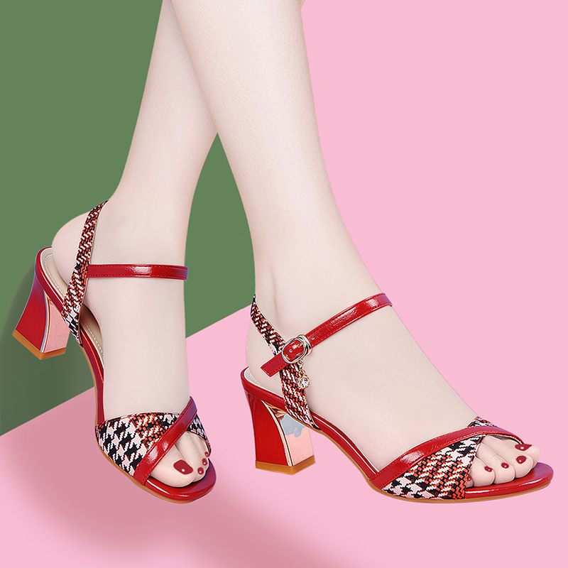 Red sandals in the year of life womens new high heeled shoes in 2020 versatile womens fashion sandals net red thick heeled womens shoes