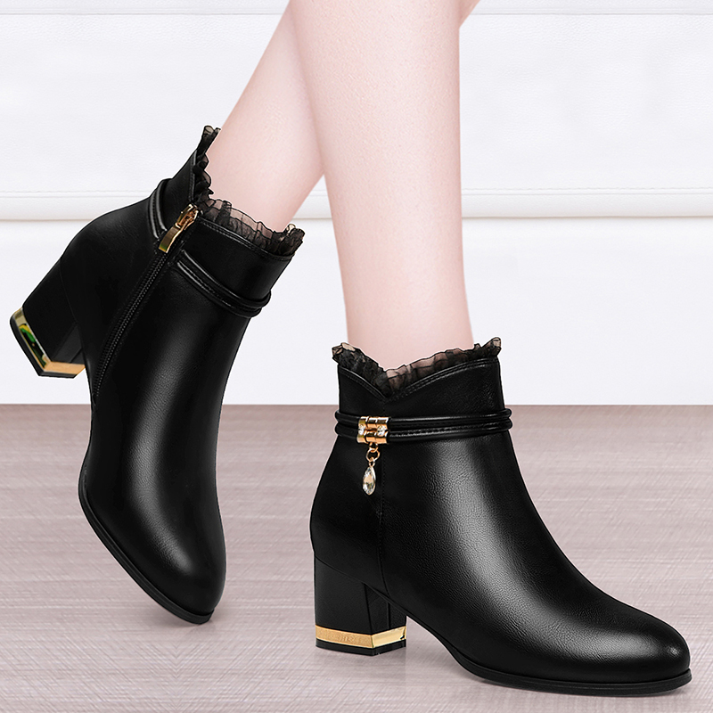 Leather short boots high heel short boots womens thick heel versatile LACE BOOTS childrens early autumn 2020 Martin boots winter shoes