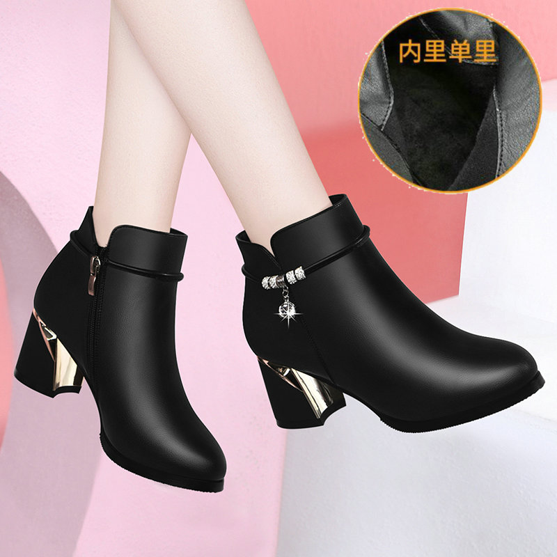 Womens boots autumn and winter high heeled and thick heeled boots Martin boots British style new chic boots womens shoes 2020