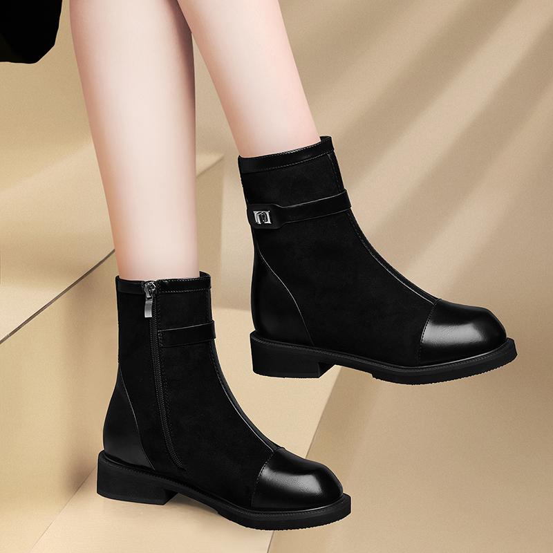 Martin boots 2020 new womens Chelsea boots short barrel thick heel Martin boots womens Plush elastic boots womens Boots