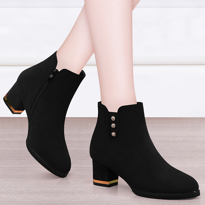 Womens Chelsea boots high heeled thick heeled boots childrens new fall / winter 2020 British style Martin boots womens thin boots