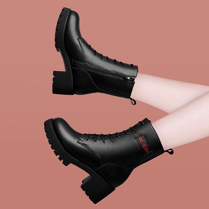 马丁靴女短靴英伦风百搭女鞋秋季短靴女秋冬季粗跟高跟真皮短靴女
