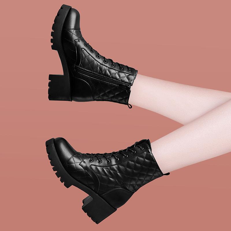 马丁靴子女靴秋冬季2020新款粗跟高跟弹力厚底防水台加绒短靴女