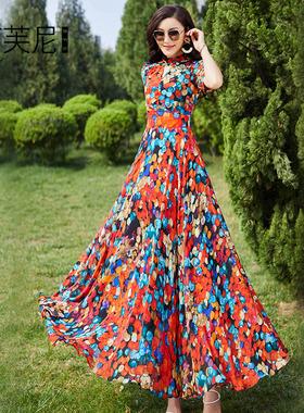 2021新款夏季法式连衣裙女波西米亚雪纺长裙收腰显瘦显高碎花气质