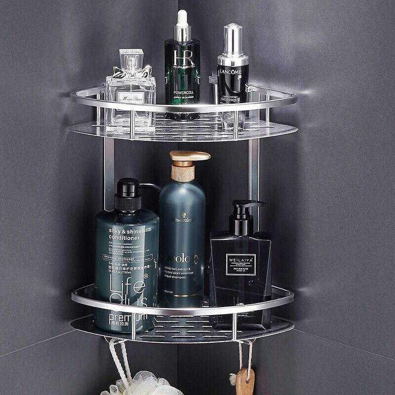 浴室卫生间置物架厕所洗手间洗漱台三角厨房收纳吸壁式免打孔壁挂