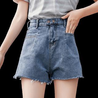 牛仔短裤女夏2019新款外穿韩版宽松黑色破洞高腰显瘦白色阔腿热裤