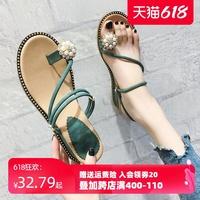 凉拖鞋女外穿ins潮凉鞋2021年新款夏季时尚坡跟中跟夹趾人字拖鞋