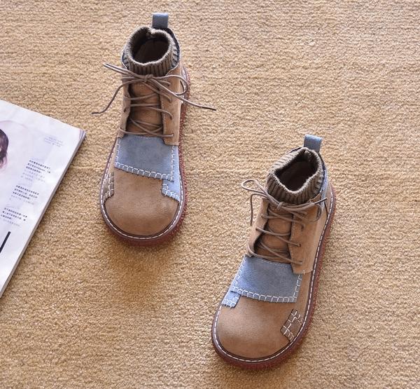 2020新款春秋平跟短靴平底单靴厚底鞋马丁靴短筒雪地靴踝靴女靴子