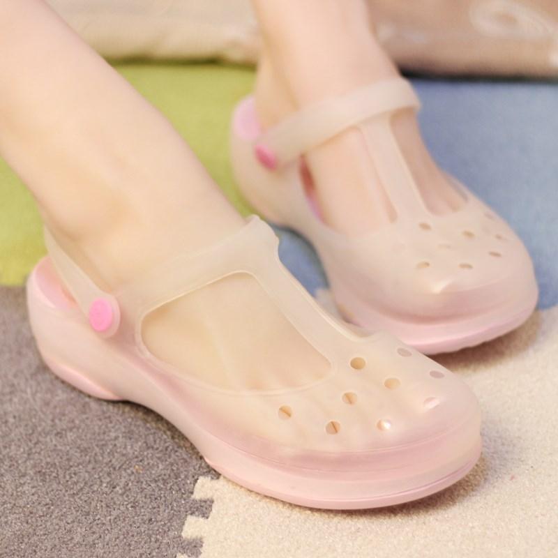 韩版平底防滑洞洞鞋女夏季孕妇凉鞋玛丽珍变色沙滩鞋护士拖鞋新款券后53.26元