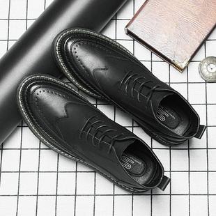 冬季 男韩版 皮鞋 休闲潮流布洛克高帮马丁靴英伦内增高黑色百搭男鞋