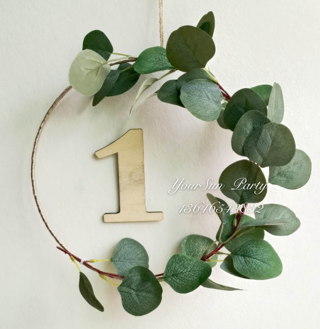 Flower retro simulation style garland decoration custom leaves can be used garland metal ring wall
