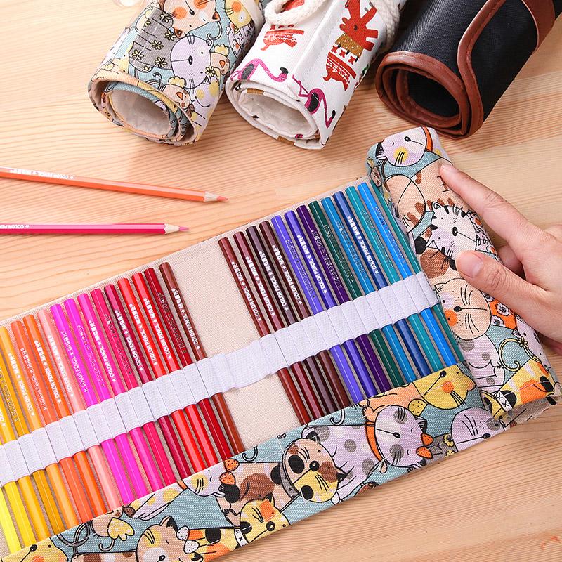 笔帘卷式笔袋帆布大容量女初高中可爱48孔彩铅素描铅笔美术绘画专用36色收纳多功能布帘男大