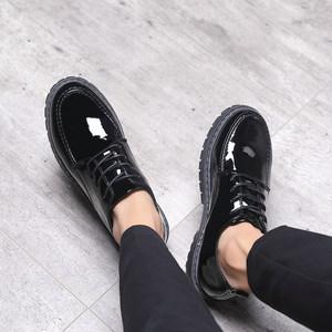 秋季皮鞋男韩版潮流百搭商务休闲鞋学生青少年英伦亮皮黑色小皮鞋