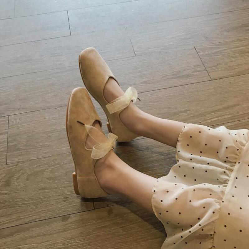绒面绑带蝴蝶结芭蕾舞甜美女平底鞋