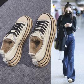 毛毛鞋女冬季加绒外穿2020新款韩版百搭厚底帆布板鞋真皮保暖棉鞋