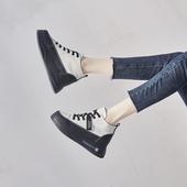 小短靴女2020春秋新款百搭松糕厚底ins潮英伦风2021内增高马丁靴