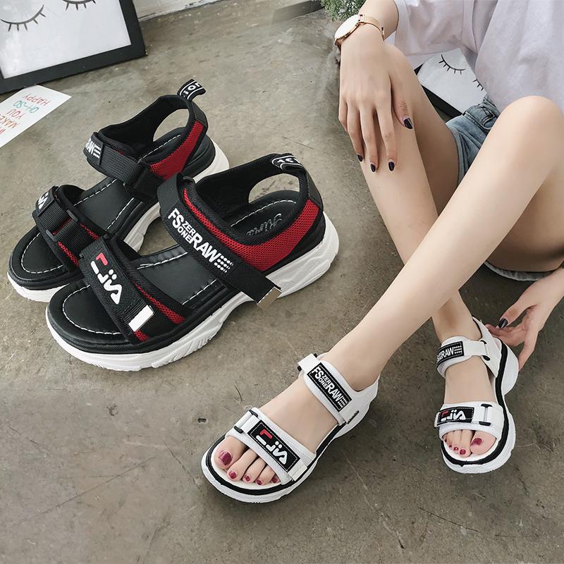 ins运动凉鞋女平底松糕跟2018新款韩版厚底魔术贴学生鞋网红同款