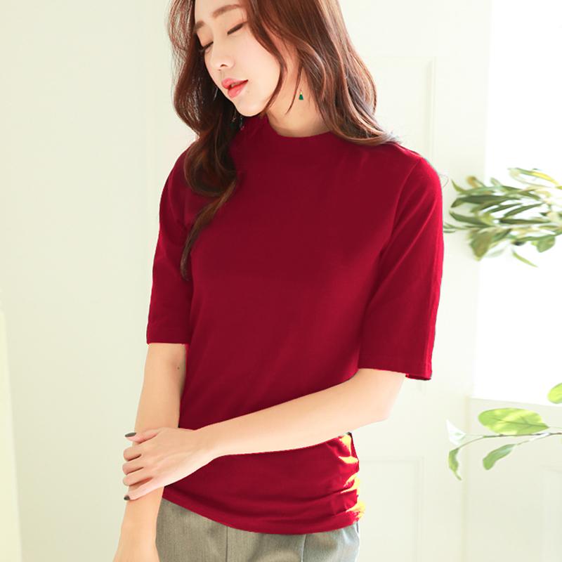 酒红色半高领短袖t恤女夏2019新款中袖修身纯棉五分袖打底衫上衣