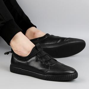 夏季48特大码镂空男鞋47休闲男士真皮45加大号46纯黑色洞洞板鞋子