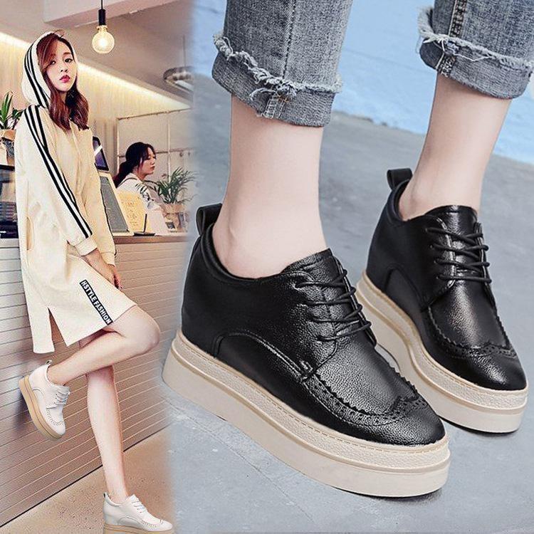 内增高布洛克女鞋小皮鞋英伦风单鞋2019秋季新款女坡跟厚底松糕鞋