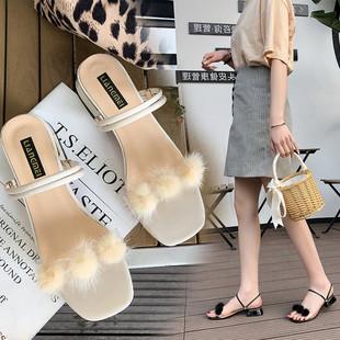 凉拖鞋女新款粗跟两穿凉鞋百搭高跟两穿拖鞋