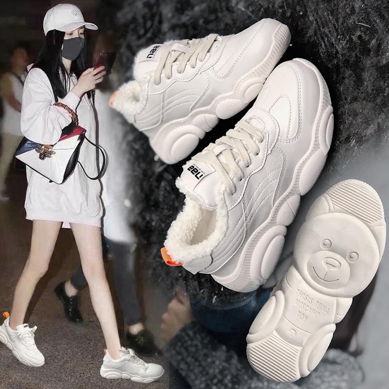老爹鞋女2018新款冬季棉鞋加绒高帮鞋休闲鞋运动小白鞋网红小熊鞋