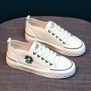 小白鞋子女2020年新款夏季薄款百搭小雏菊板鞋帆布ulzzang爆款潮