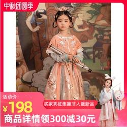 初立原创改良汉服女童装坦领襦裙中国风儿童套装亲子春秋