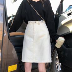 高腰牛仔半身裙女夏季2020新款米白色半裙包臀杏色包裙中长款裙子