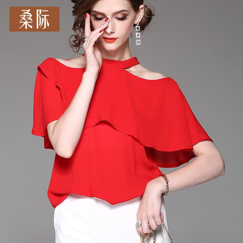 红色性感设计感短袖雪纺衫减龄荷叶边气质女小衫2019夏季新款洋气