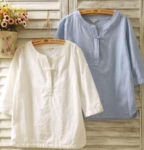 2020春夏棉麻女装衬衫七分袖亚麻盘扣长袖宽松民族风短袖T恤上衣