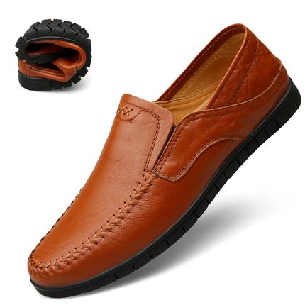春季男士休闲皮鞋真皮软底驾车鞋青年豆豆鞋男懒人鞋一脚蹬男鞋潮