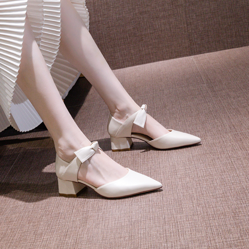 尖头白色高跟鞋女粗跟2021春夏季新款包头蝴蝶结5cm气质单鞋中跟