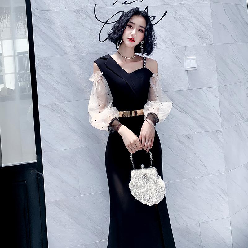 黑色小晚礼服裙女2021新款高级质感气质性感长款宴会气场女王年会