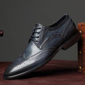 男士布洛克雕花皮鞋真皮商务正装夏季透气牛皮鞋子英伦尖头男鞋潮