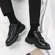 黑色皮鞋男韩版潮流百搭学生新款鞋子男厚底青少年圆头系带小皮鞋