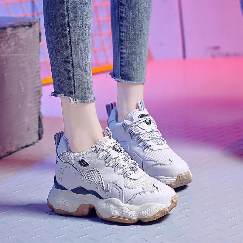 内增高爆款2019夏季新款小白鞋厚底透气网红休闲运动松糕老爹鞋女