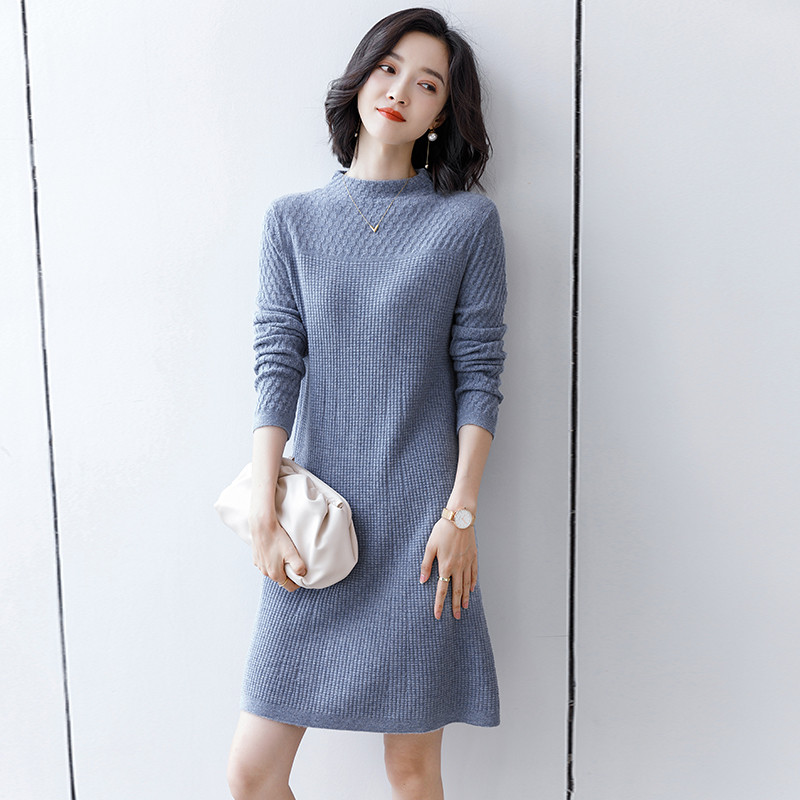 Cashmere sweater womens 100 pure cashmere half high neck medium length 2021 autumn winter new thickened loose knitted sweater