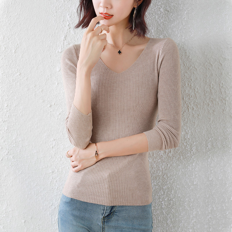 V-neck foreign style sweater womens 2021 spring and autumn new sweater basic long sleeve slim fitting bottomed shirt with top inside