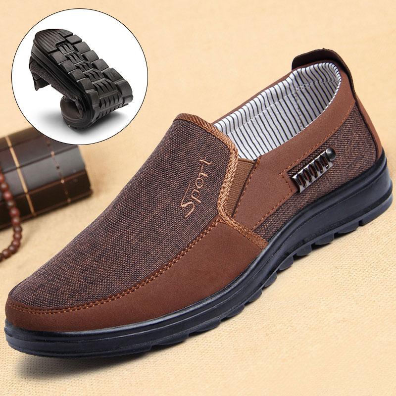 Giày nam Bắc Kinh cũ Giày nam hàng đầu cửa hàng chính thức của cha Giày trung niên Giày nam trung niên và giày đơn - Plimsolls