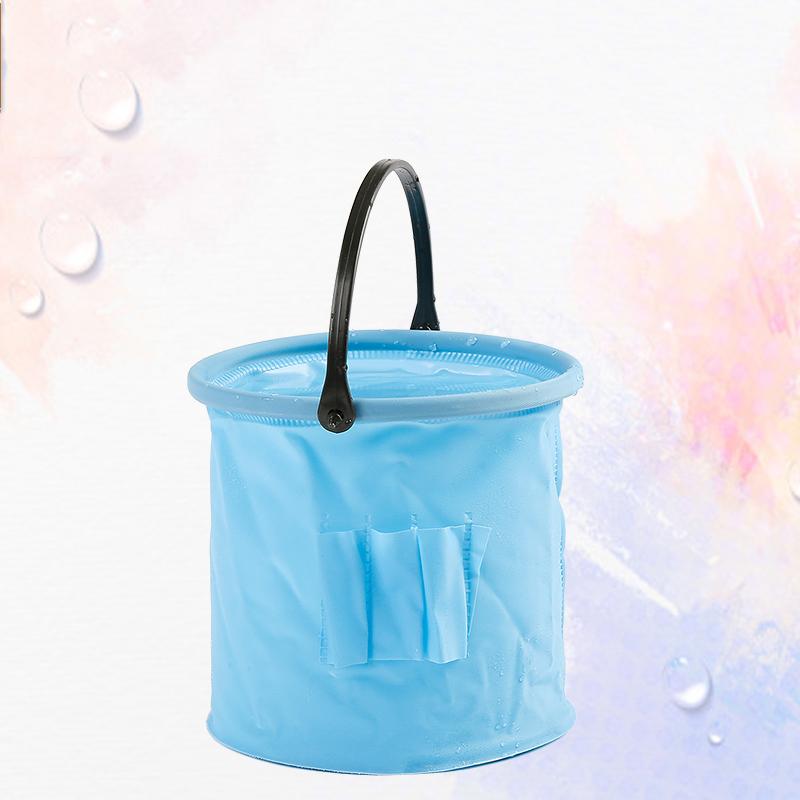 多功能可折叠小水桶 4色颜色随机发塑料小水桶 洗笔桶美术用品