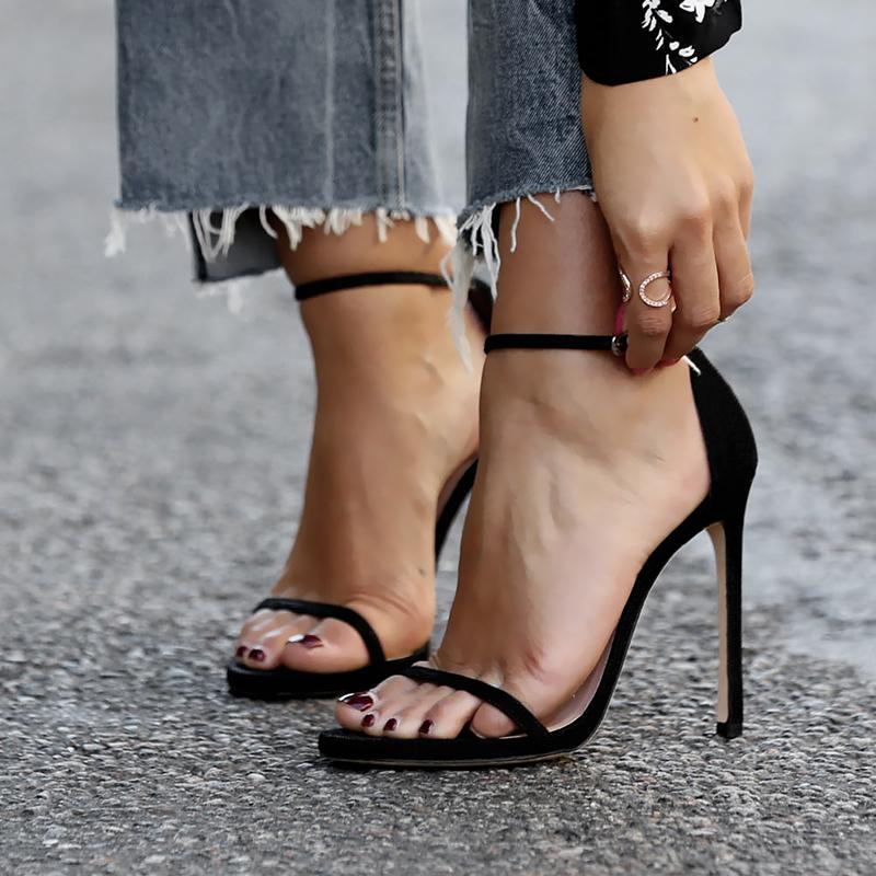 雅绸2020新款女凉鞋法式时装凉鞋黑色防水台一字扣带高跟凉鞋细跟图片