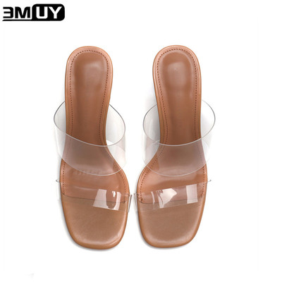 emuy透明高跟鞋拖鞋女外穿网红新款百搭ins时尚水晶中粗跟PVC凉鞋