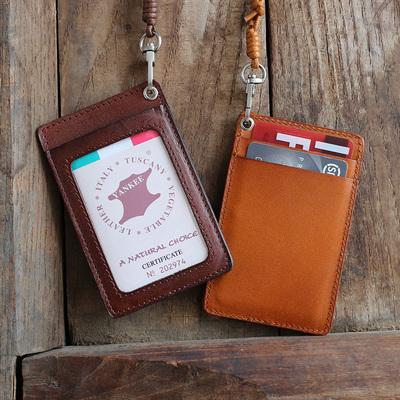 日韩原创植鞣牛皮证件卡套手工真皮挂颈绳复古证件套胸卡工作牌潮