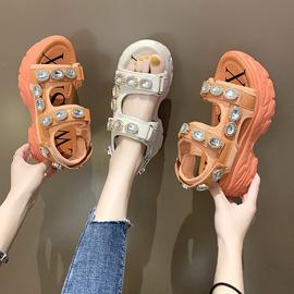 女鞋夏季2020新款凉鞋女ins潮百搭松糕厚底水钻魔术贴沙滩罗马鞋