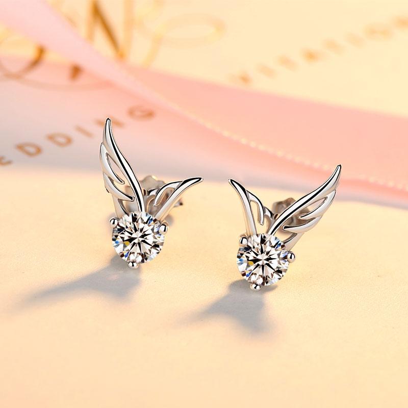 925银耳钉女时尚日韩国耳环天使翅膀耳饰品甜美精美学生个性简约