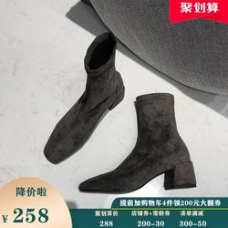 高跟方头靴子女短靴中跟粗跟秋冬季新款软底单靴绒面弹力瘦瘦裸靴