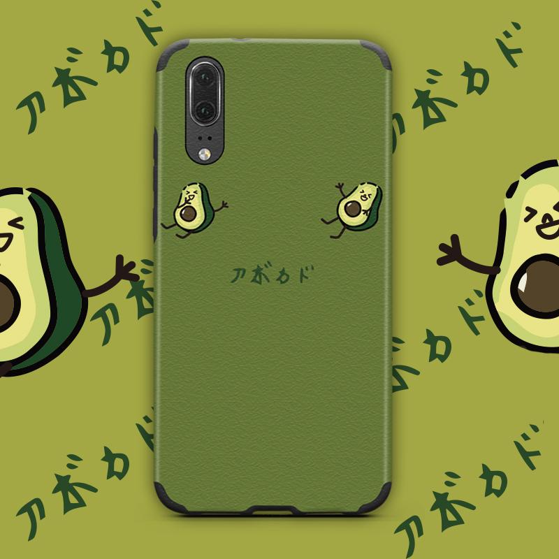 原创墨绿牛油果华为P20手机壳冰丝nova3全包荣耀10/v10软套8x浮雕nova2s/3i/3e/4日系mate20 pro个性V20女款